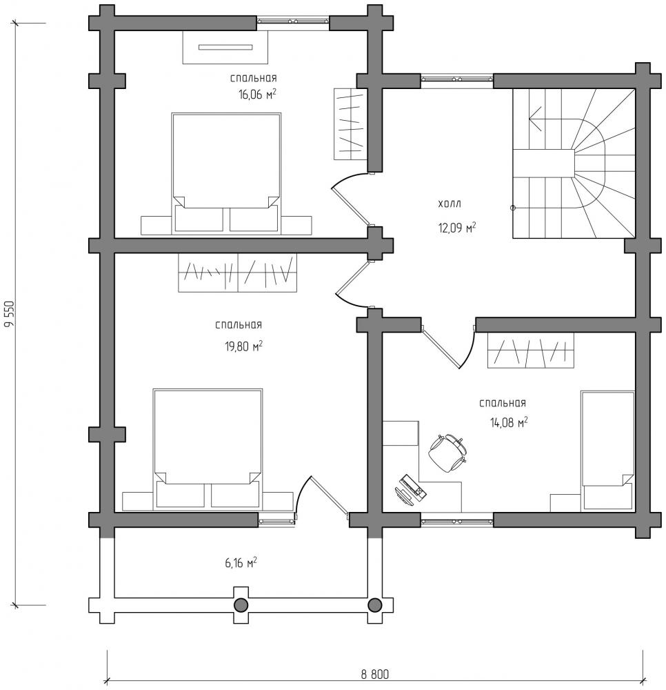 Проект бревенчатого дома AM-2024 план