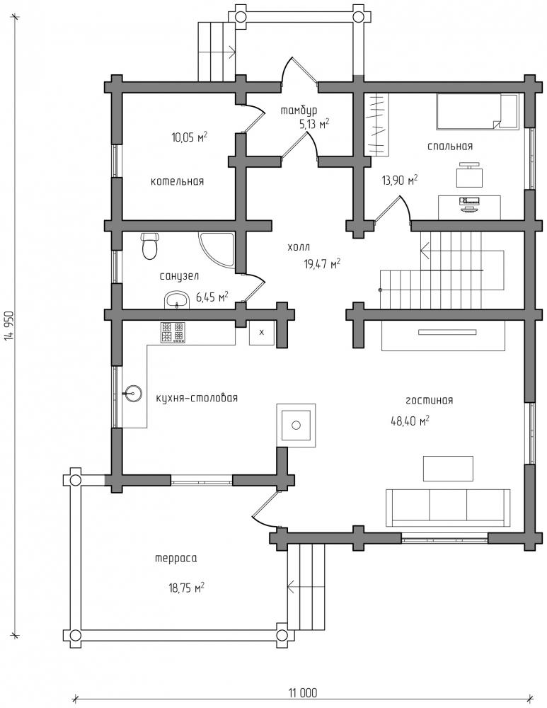 Проект бревенчатого дома AM-2025 план