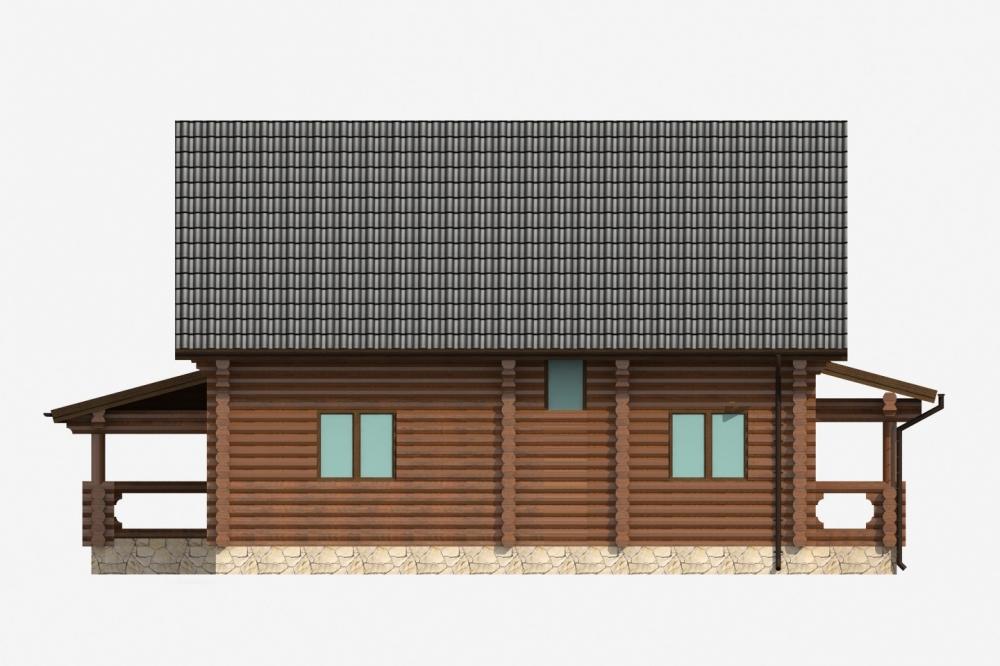 Проект бревенчатого дома AM-2025 фасад