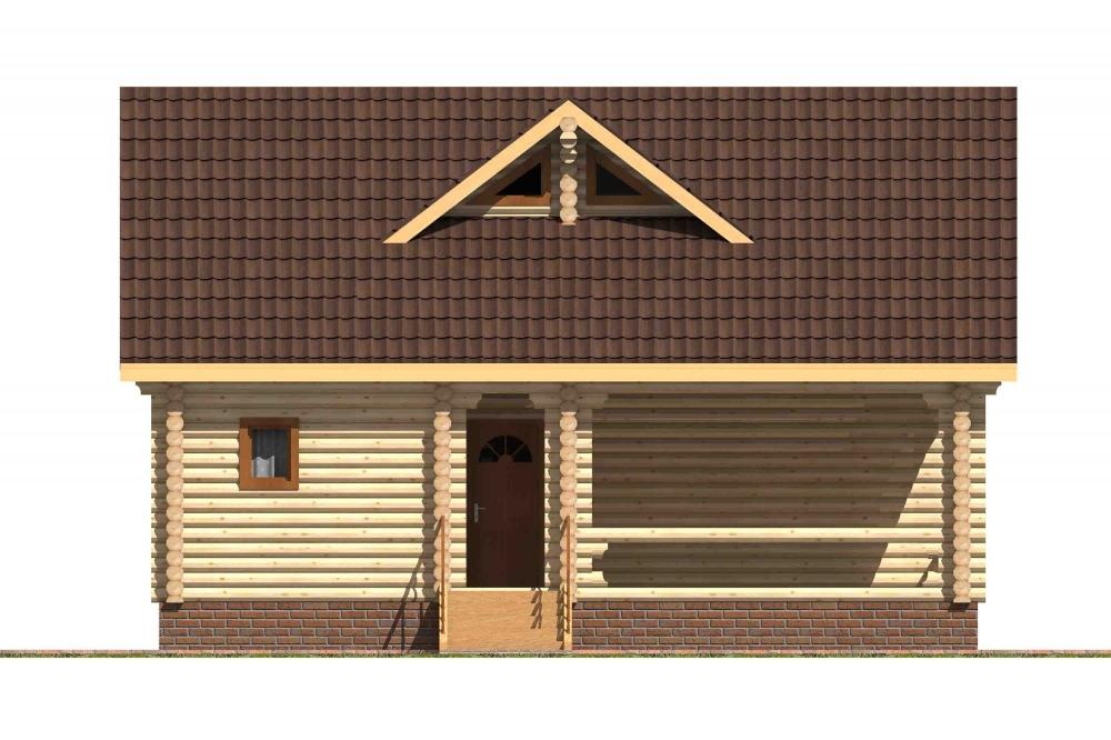 Проект бревенчатого дома AM-2027 фасад