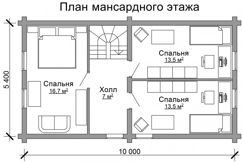 Проект бревенчатого дома AM-2027 план