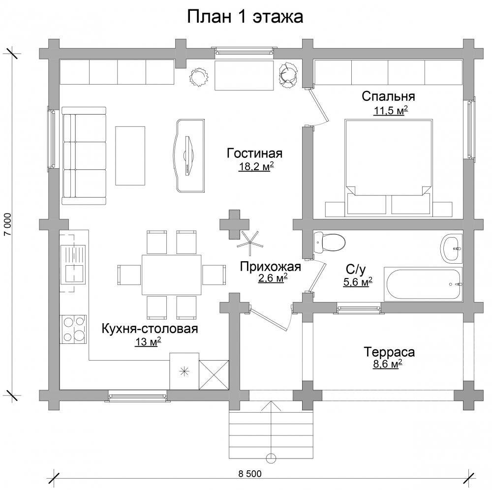 Проект бревенчатого дома AM-2029 план