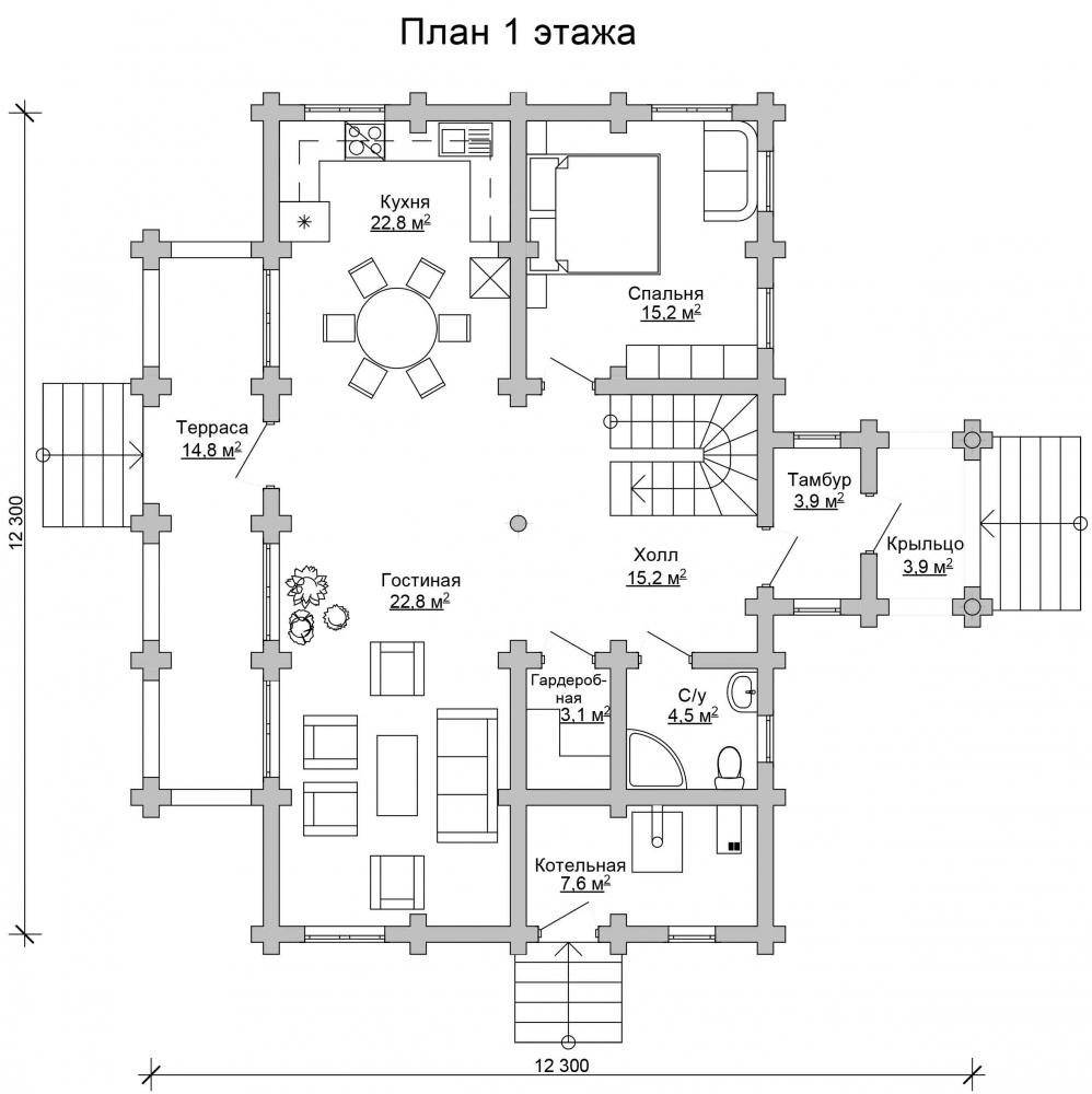 Проект бревенчатого дома AM-2030 план