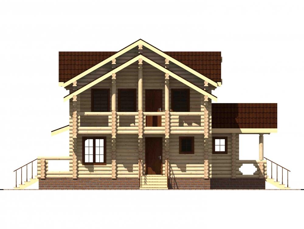 Проект бревенчатого дома AM-2030 фасад