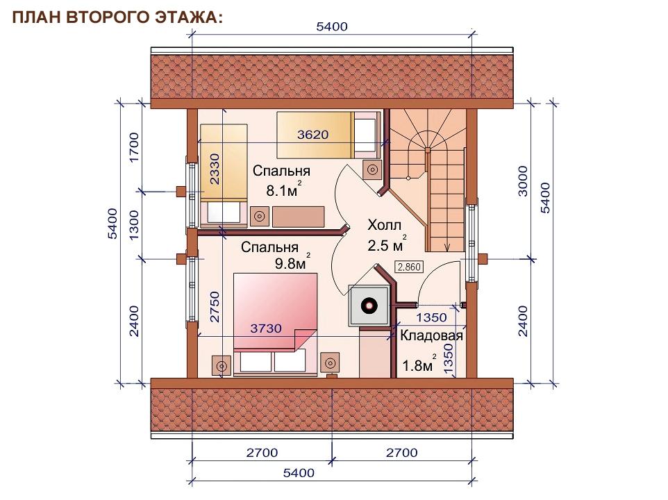 Проект дома-бани AM-2052 план
