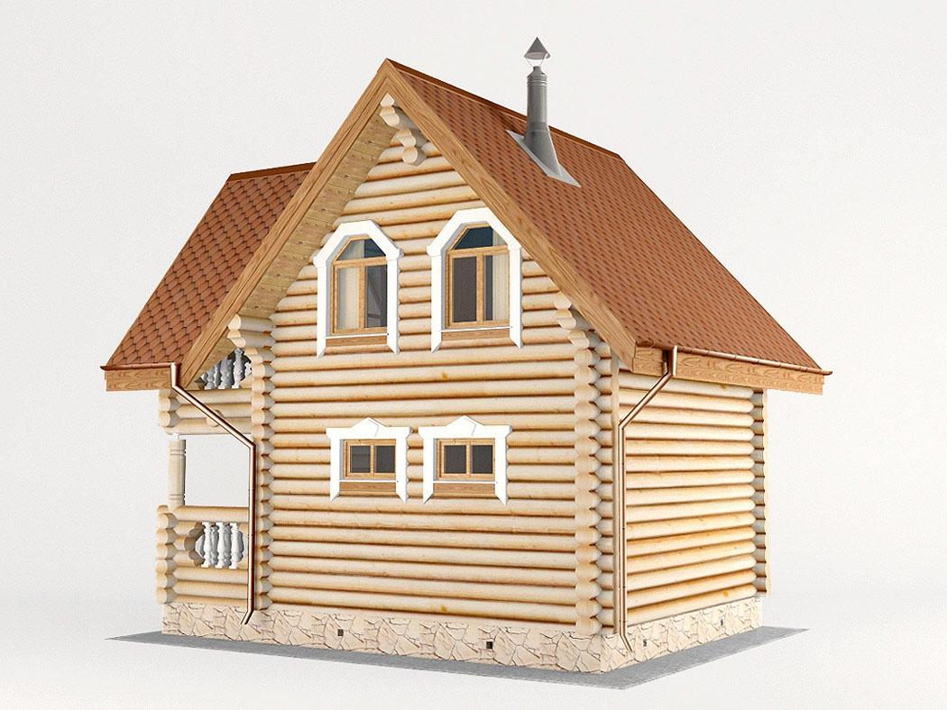 Проект дома-бани AM-2053 фасад
