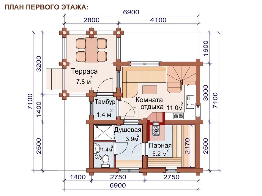 Проект дома-бани AM-2054 план