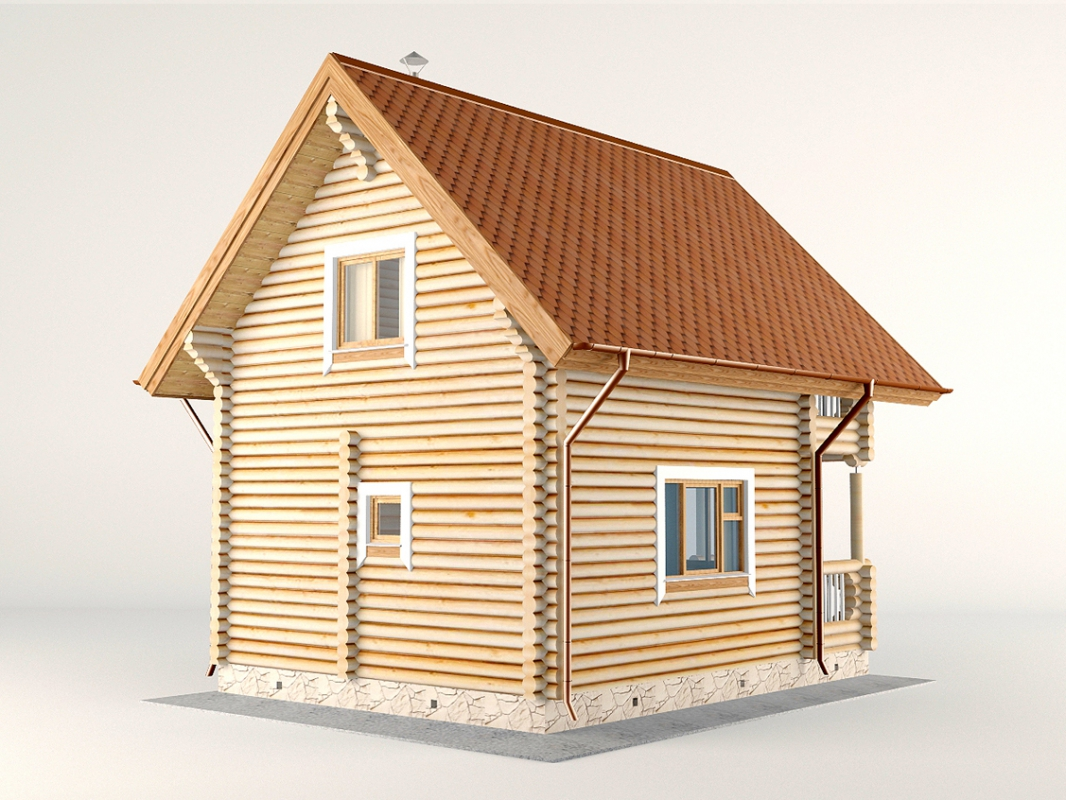 Проект дома-бани AM-2055 фасад