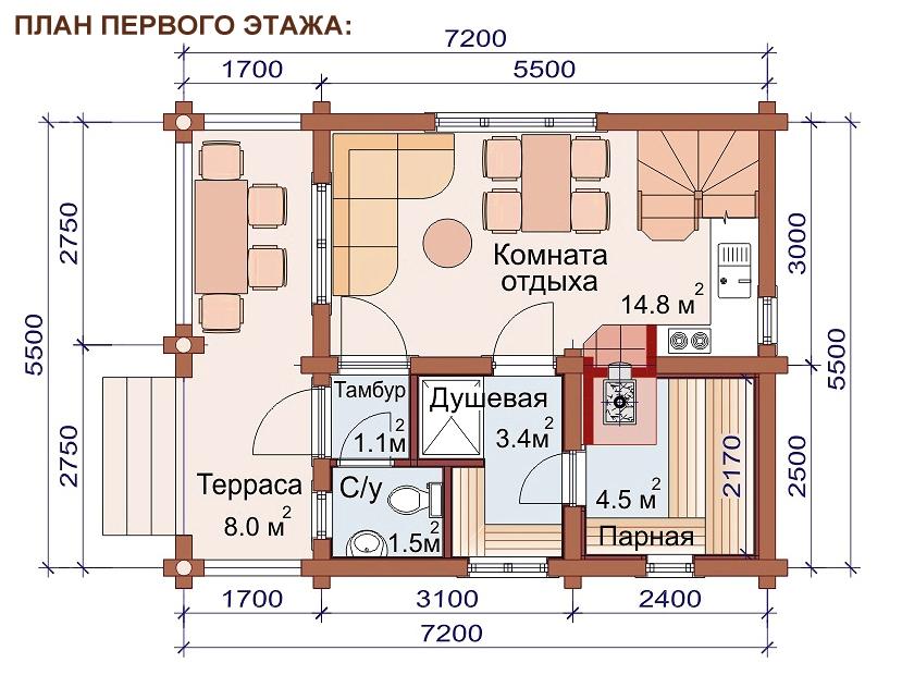 Проект дома-бани AM-2055 план