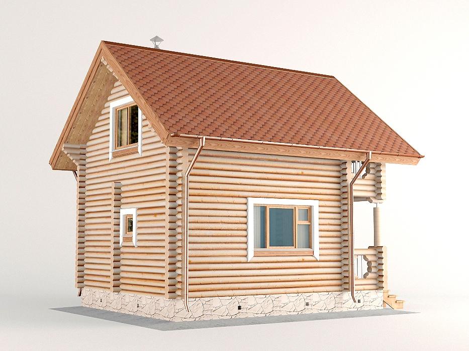 Проект дома-бани AM-2056 фасад