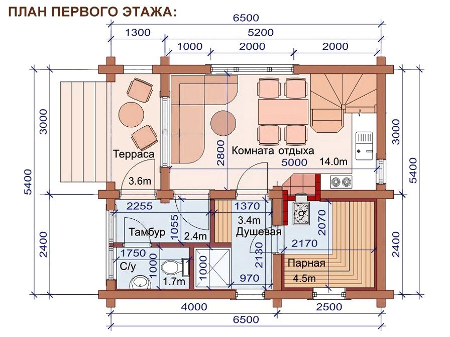 Проект дома-бани AM-2056 план