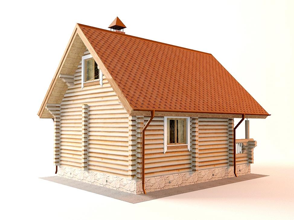 Проект дома-бани AM-2057 фасад