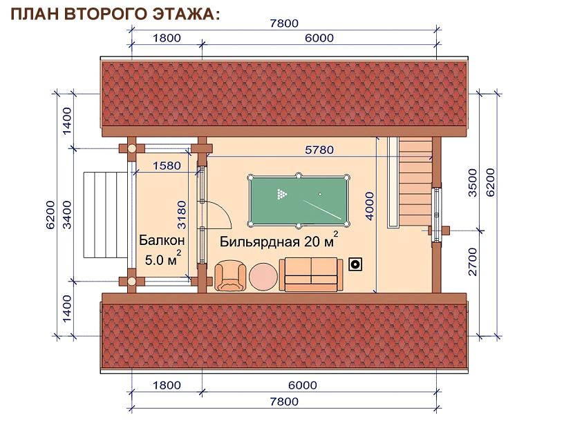 Проект дома-бани AM-2057 план