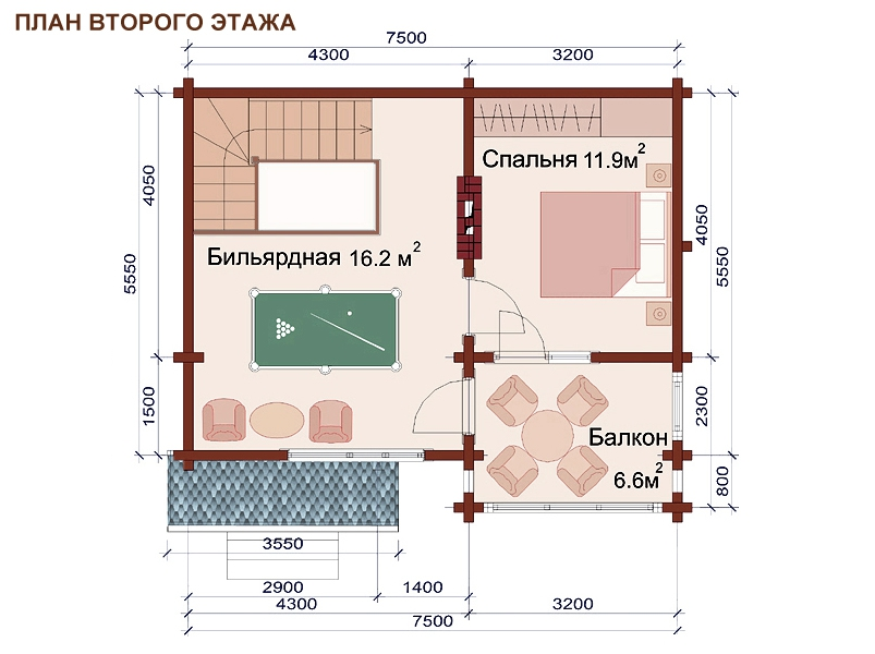 Проект дома-бани AM-2060 план