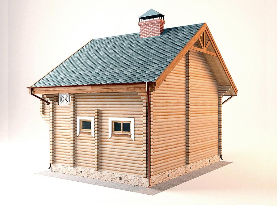 Проект дома-бани AM-2060 фасад