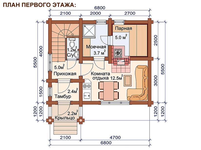 Проект дома-бани AM-2061 план