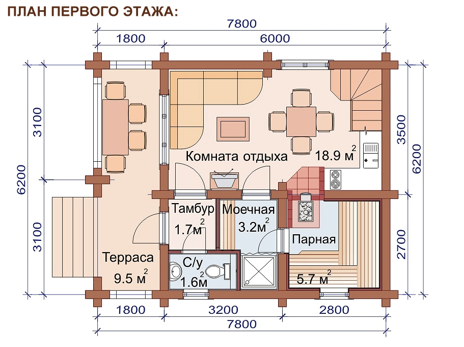 Проект дома-бани AM-2062 план