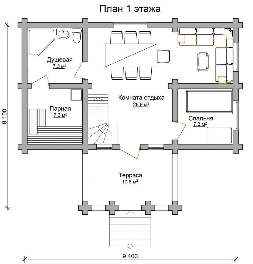Проект дома-бани AM-2063 план