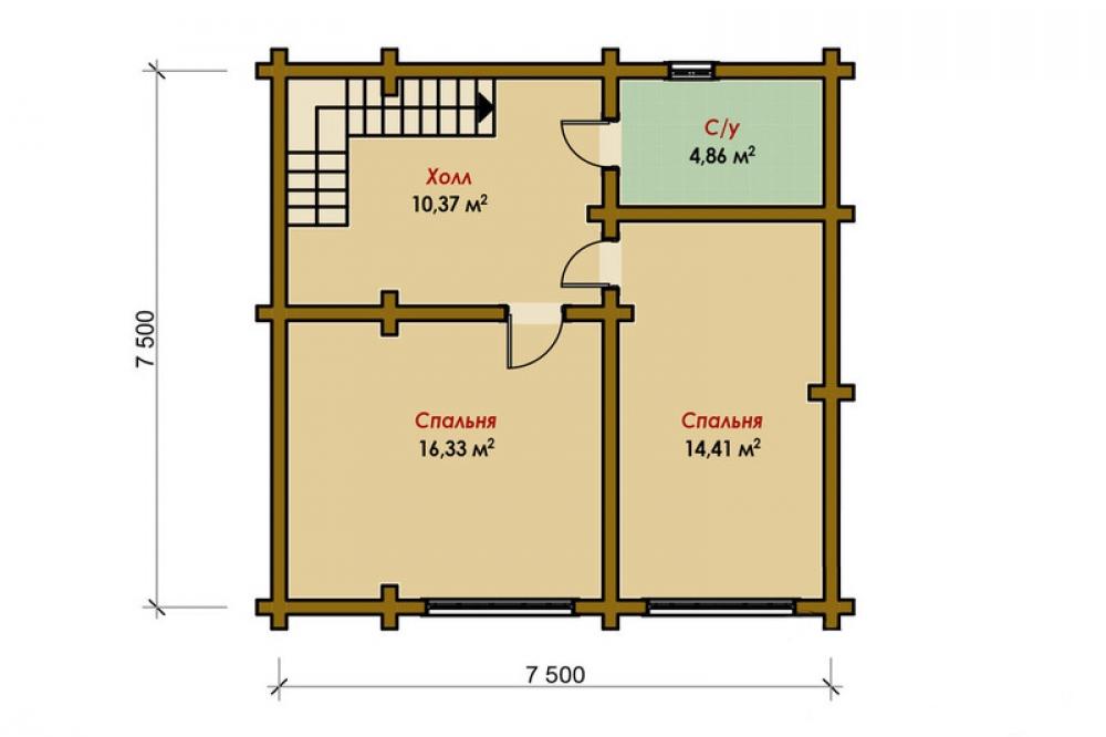Проект дома-бани AM-2064 план