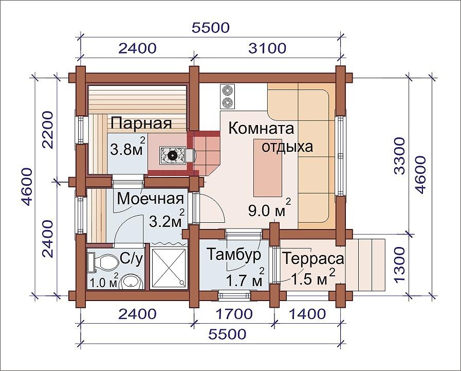 Проект бани AM-2031 план