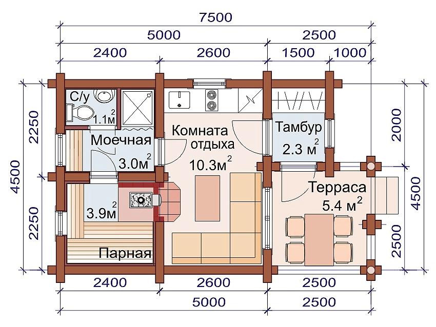 Проект бани AM-2033 план