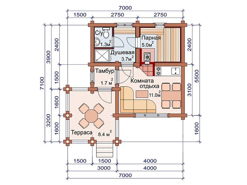 Проект бани AM-2035 план