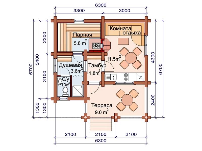 Проект бани AM-2036 план