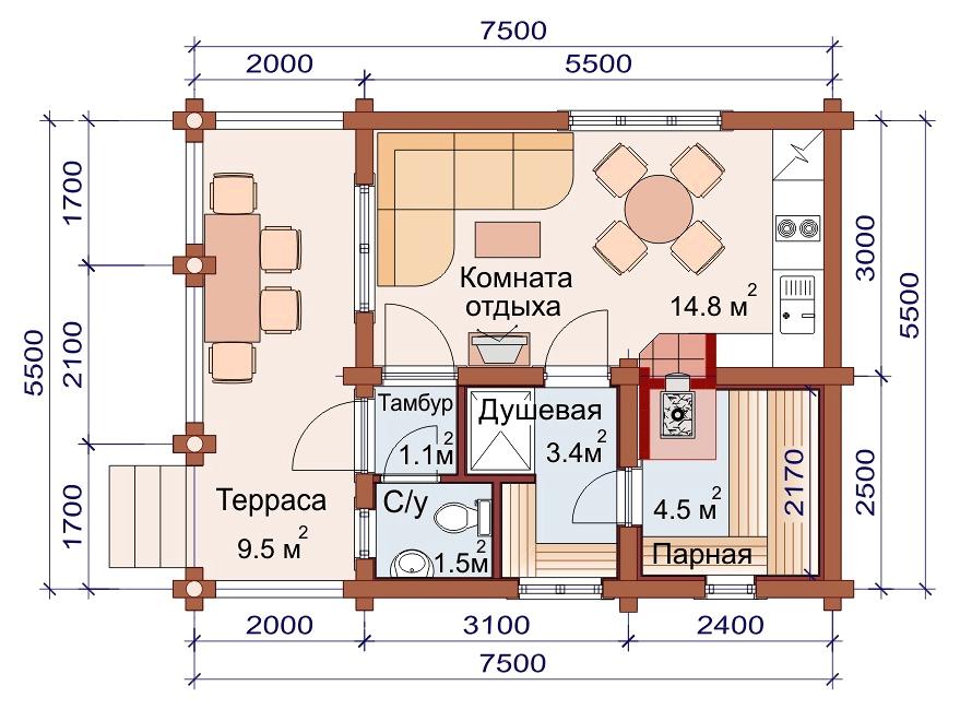 Проект бани AM-2038 план