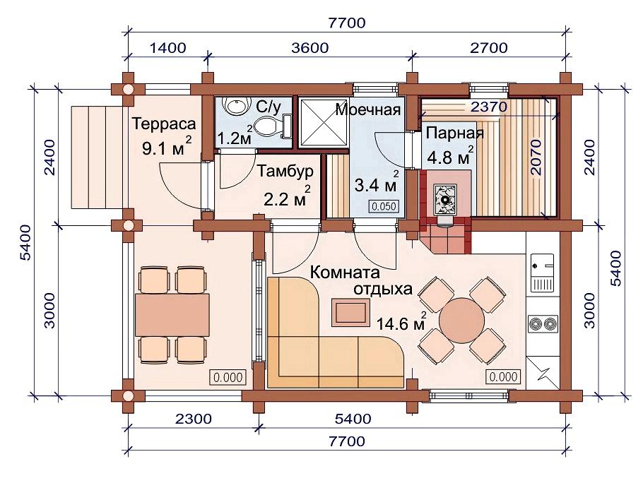 Проект бани AM-2039 план