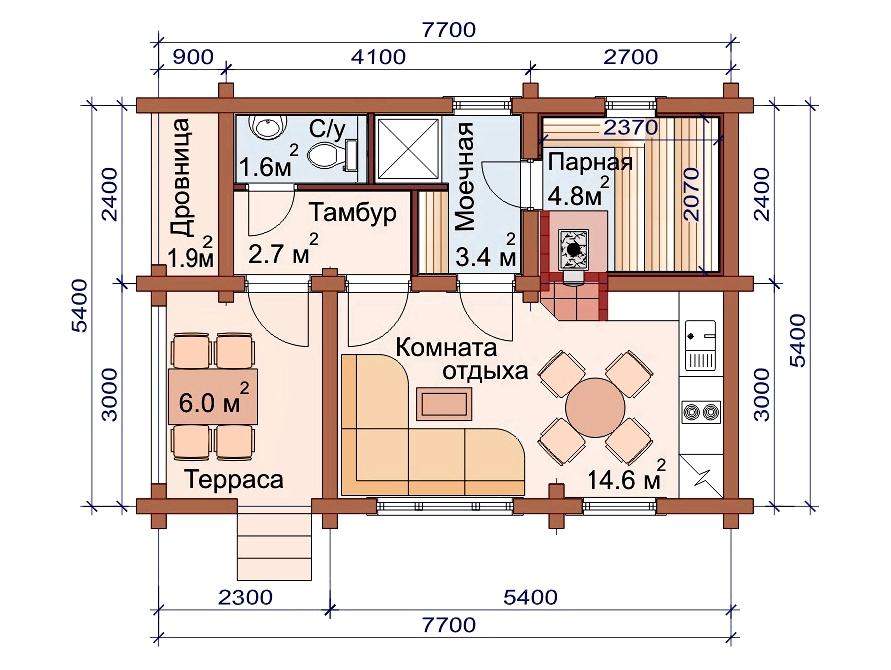 Проект бани AM-2040 план
