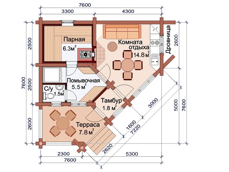 Проект бани AM-2042 план