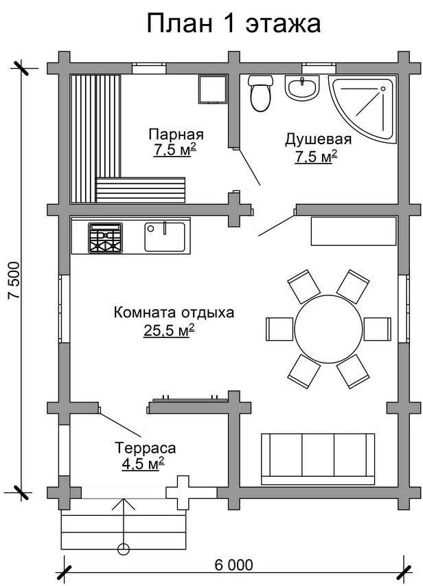 Проект бани AM-2045 план