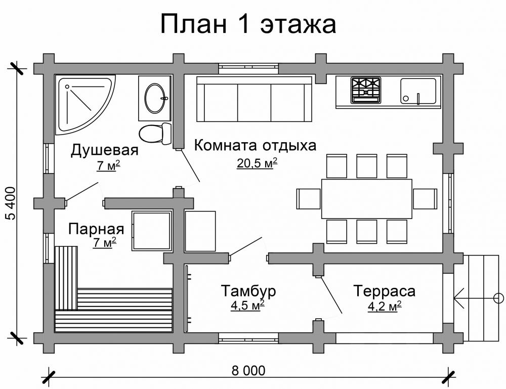 Проект бани AM-2046 план