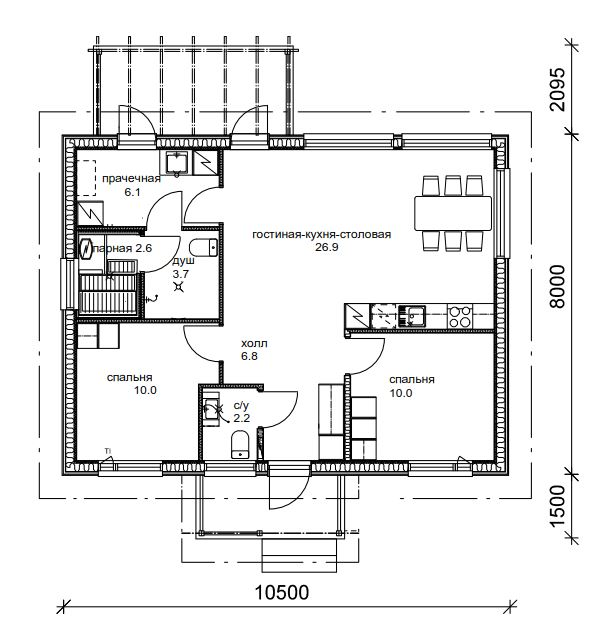 Финский одноэтажный каркасный дом (полный проект!) план