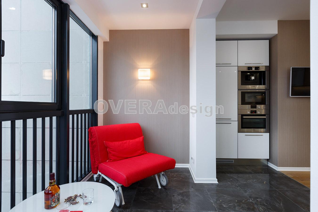Реализованный проект интерьера 1комн квартиры в современном .