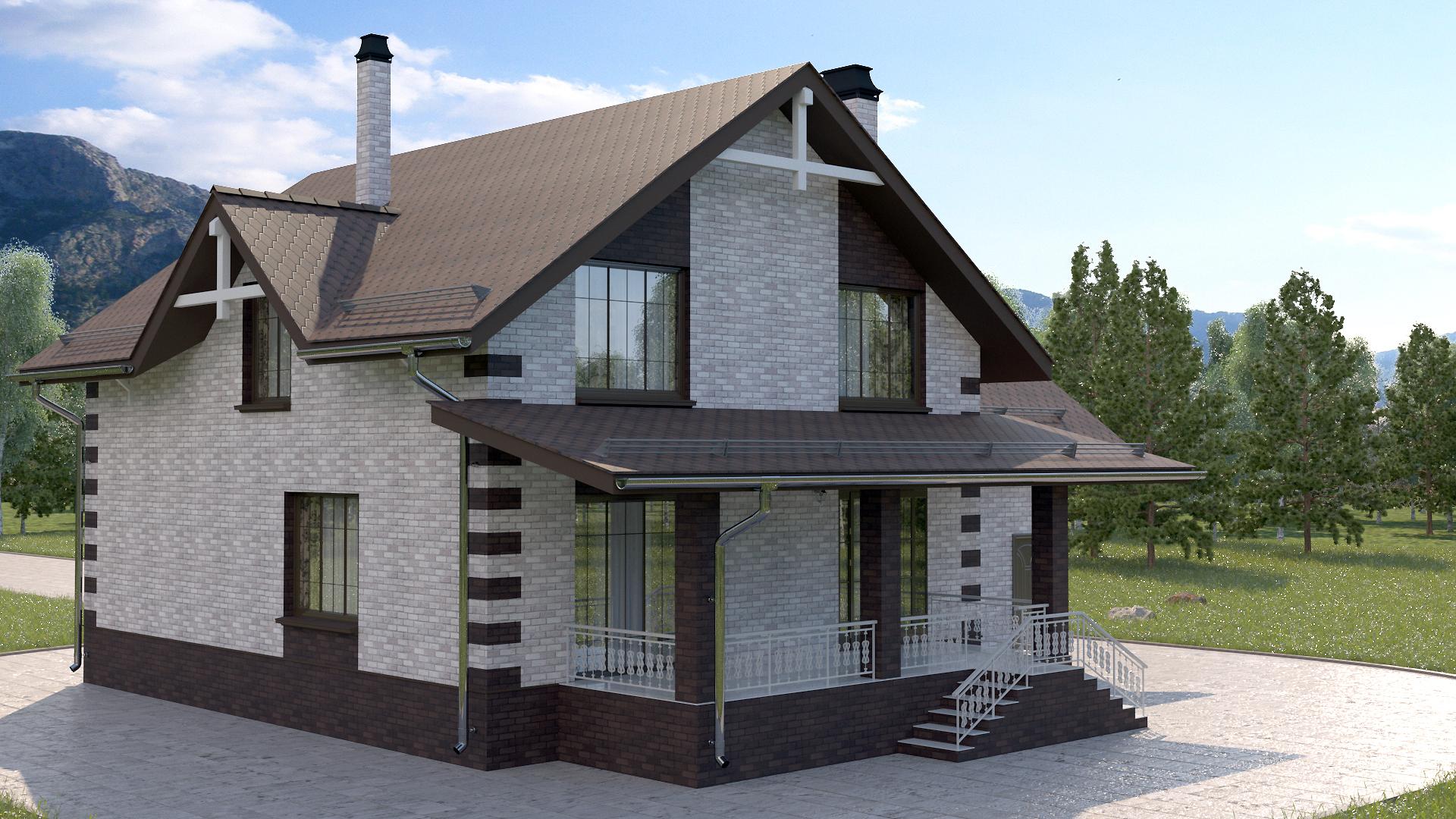 Готовый проект коттеджа 197 кв.м / Артикул Мт-121 фасад