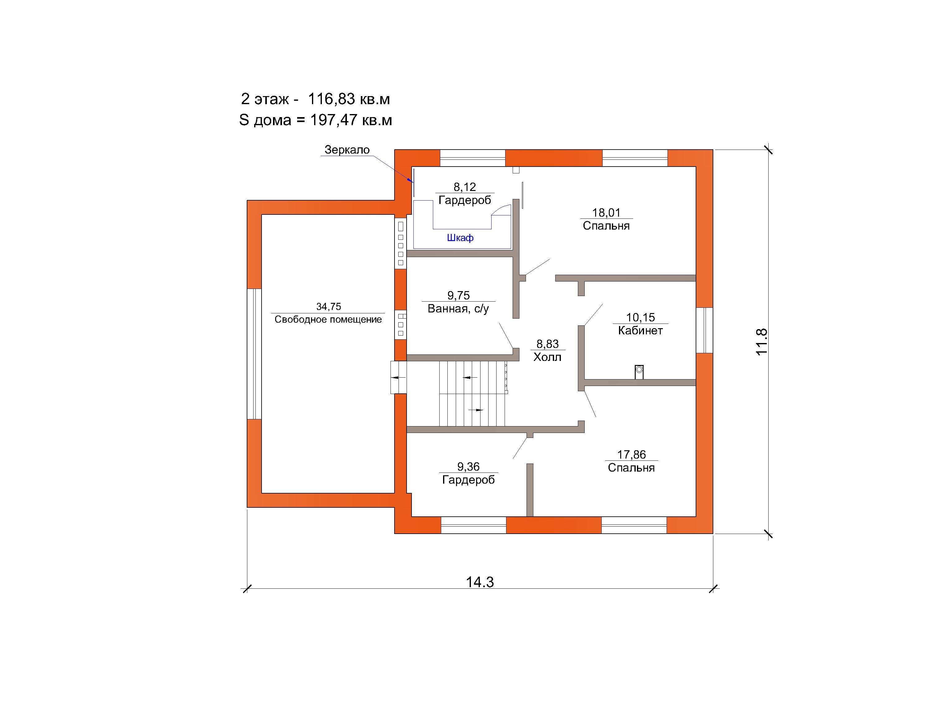 Готовый проект коттеджа 197 кв.м / Артикул Мт-121 план
