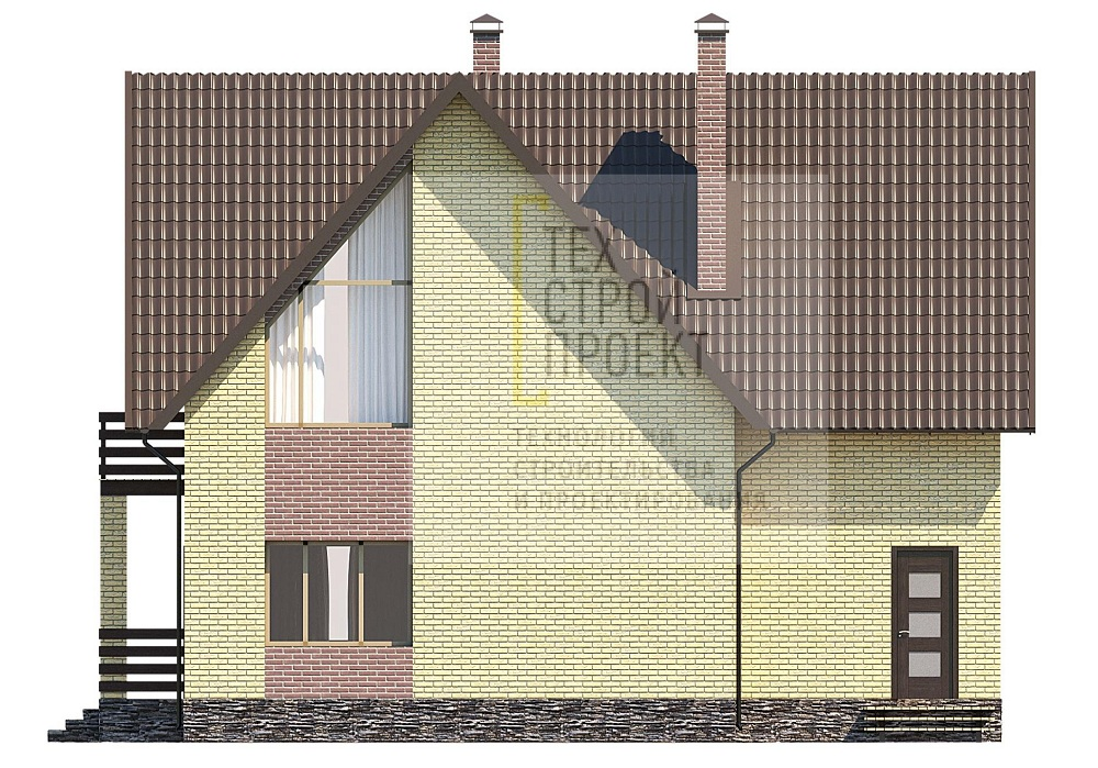 Двухэтажный дом в классическом исполнении  фасад