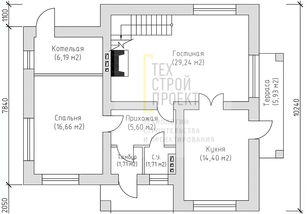 Двухэтажный дом в классическом исполнении  план