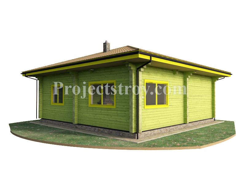 Проект одноэтажного дома из бруса 9 х 9 м фасад