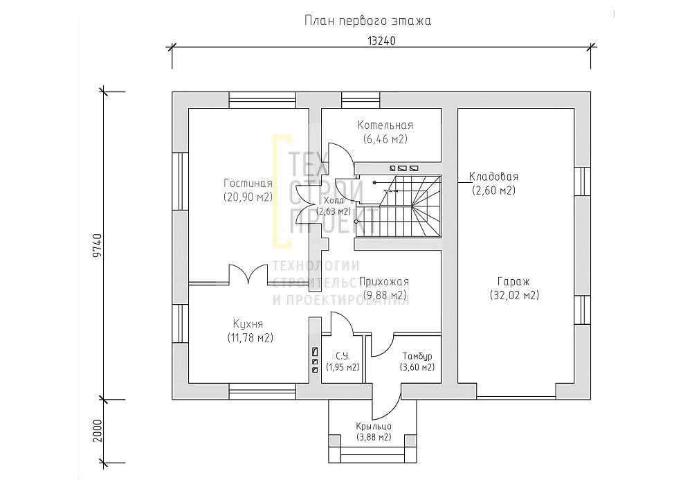 Проект компактного загородного дома план