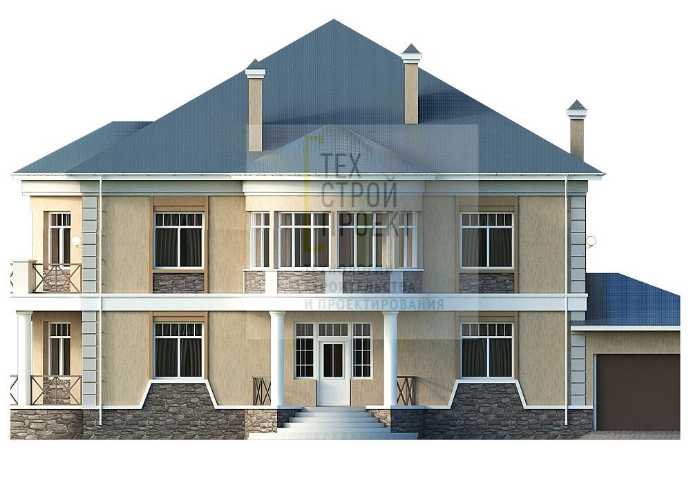 Большой двухэтажный дом в классическом стиле фасад