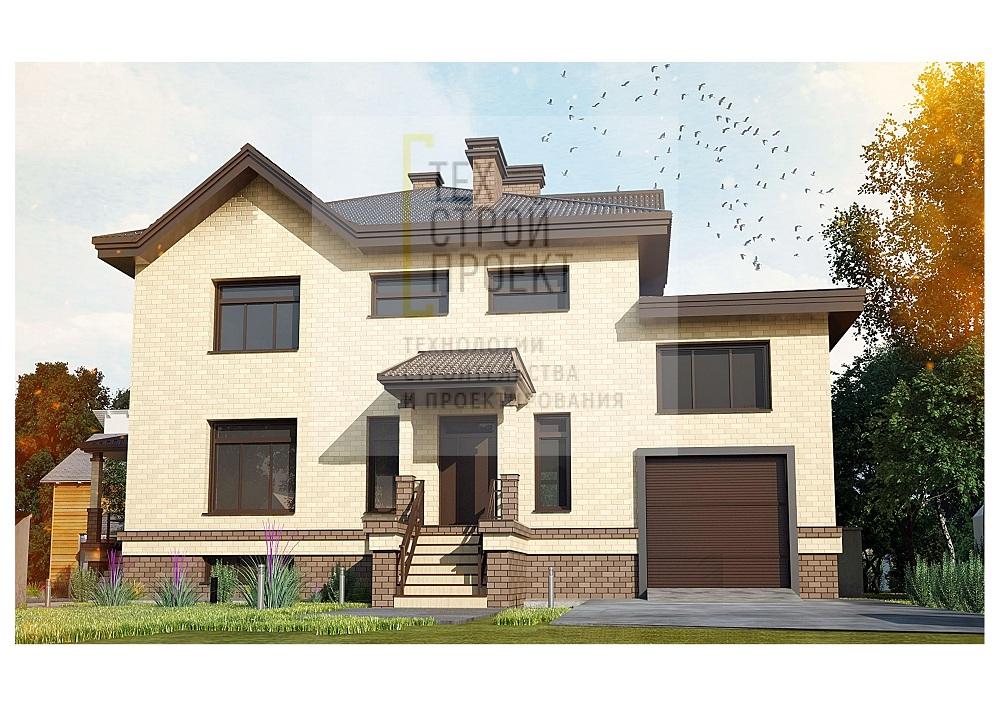Проект большого двухэтажного дома с цокольным этаж фасад