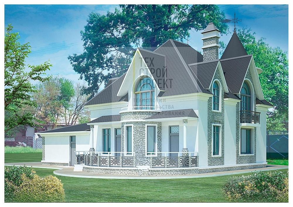 Проект семейного замка с ярким архитектурным облик фасад