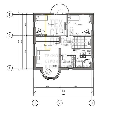 Проект семейного замка с ярким архитектурным облик план