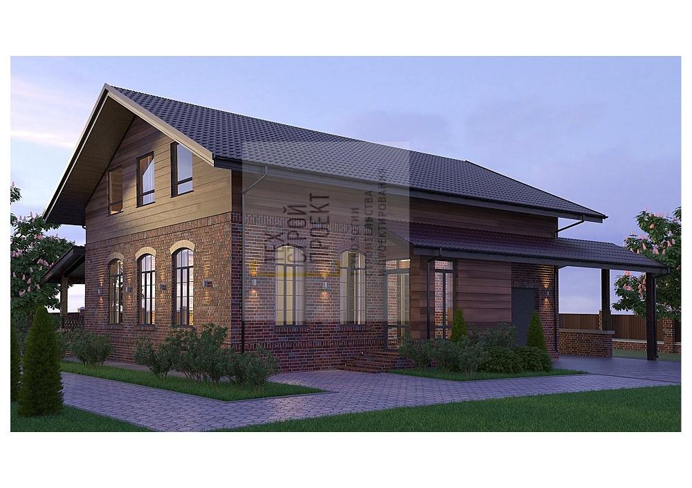 Яркий двухэтажный дом классической конфигурации фасад