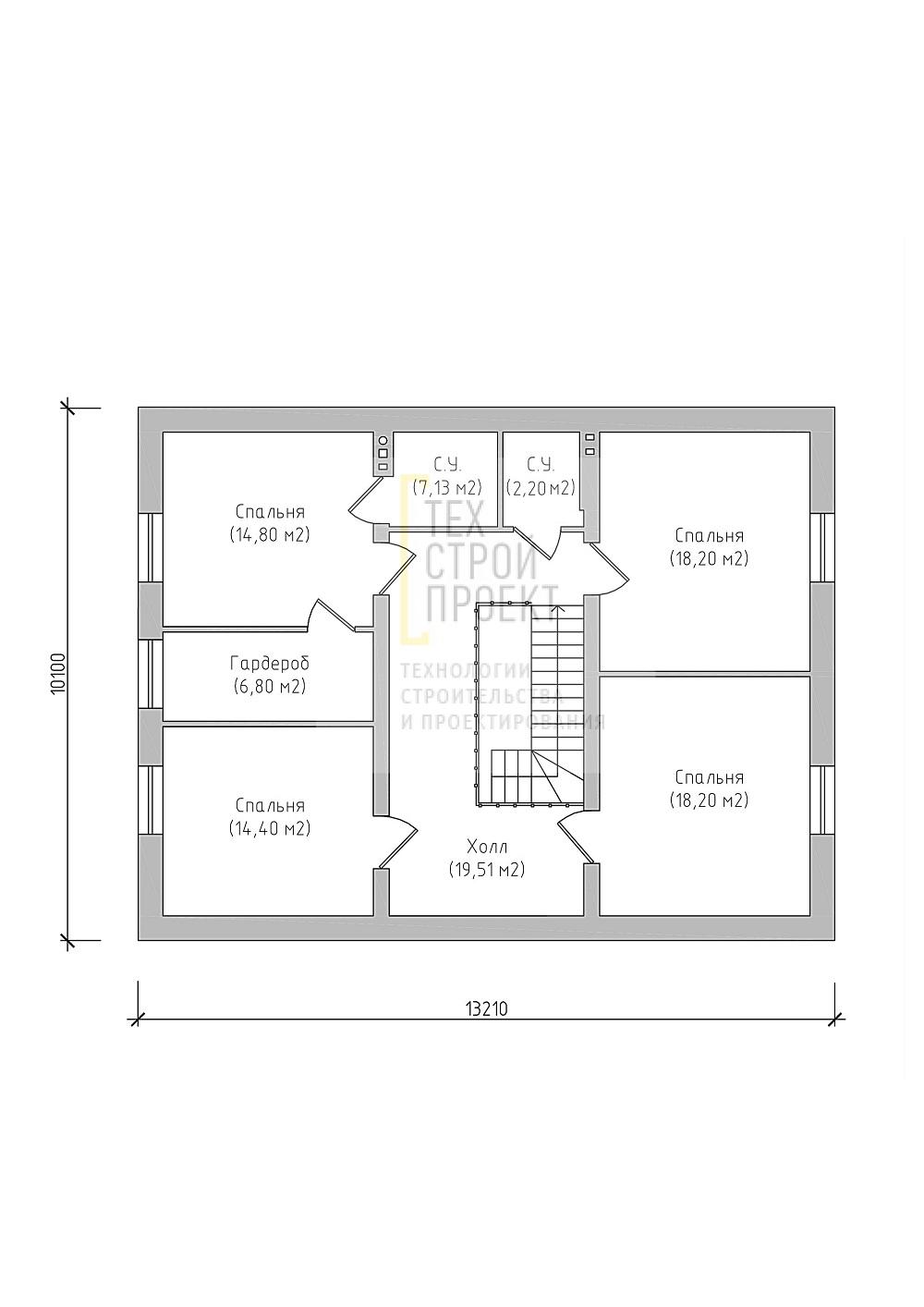Яркий двухэтажный дом классической конфигурации план