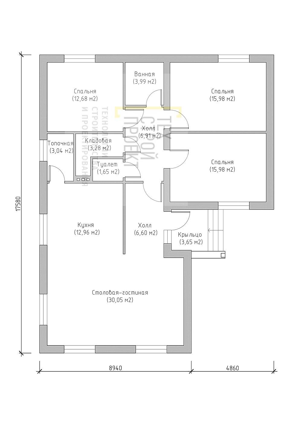 Компактный одноэтажный дом план
