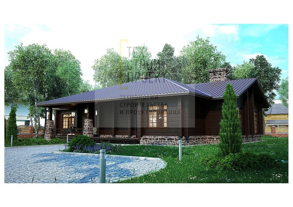 Проект большого одноэтажного дома фасад