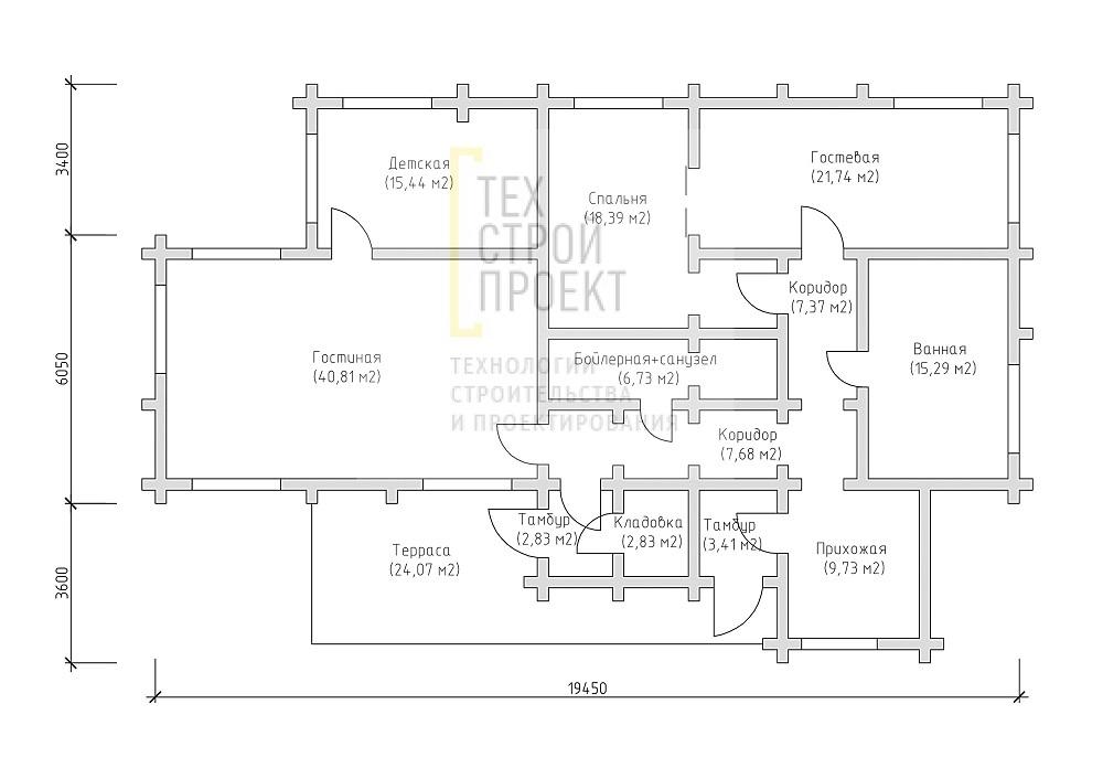Проект большого одноэтажного дома план